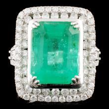 18K Gold 6.06ct Emerald & 1.35ctw Diamond Ring