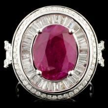 18K Gold 4.35ct Ruby & 1.81ctw Diamond Ring
