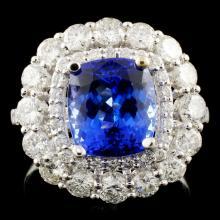 18K Gold 3.53ct Tanzanite & 1.74ctw Diamond Ring