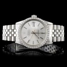 Rolex SS DateJust 1.50ct Diamond Men's Wristwatch