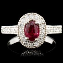 14K Gold 0.76ct Ruby & 0.62ctw Diamond Ring
