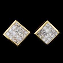 18K Yellow Gold 2.82ct Diamond Earrings
