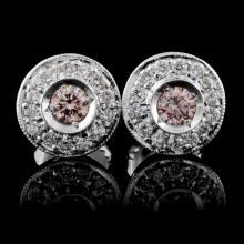 18K White Gold 0.53ctw Fancy Color Diamond Earring