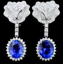 18K Gold 8.77ct Tanzanite & 2.40ct Diamond Earring
