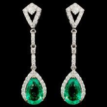 18K Gold 6.25ctw Emerald & 1.15ctw Diamond Earring