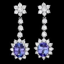 `14k Gold 3.5ct Tanzanite 2.8ct Diamond Earrings