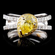 18K White Gold 1.35ctw Fancy Color Diamond Ring