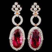 18K Gold 35.22ct Rubellite & 3.40ct Diamond Earrin