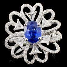 18K White Gold 1.49ct Sapphire & 1.41ct Diamond Ri