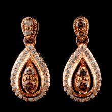 14K Rose Gold 0.66ctw Fancy Color Diamond Earrings