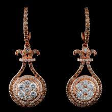 14K Rose Gold 1.81ctw Fancy Color Diamond Earrings