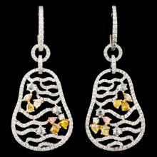 18K Gold 3.01ctw Diamond Earrings