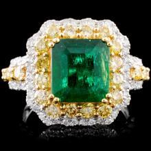 18K Gold 2.76ct Emerald & 1.27ctw Diamond Ring