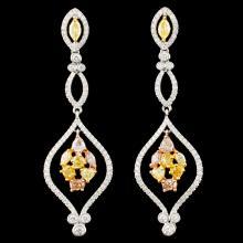 18K Gold 2.54ctw Fancy Color Diamond Earrings