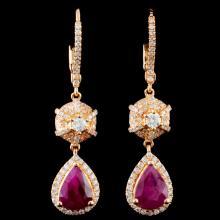 18K Gold 2.68ctw Ruby & 0.83ctw Diamond Earrings