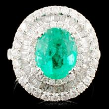 18K Gold 2.31ct Emerald & 1.71ctw Diamond Ring