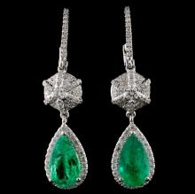 18K Gold 2.38ct Emerald & 0.74ct Diamond Earrings
