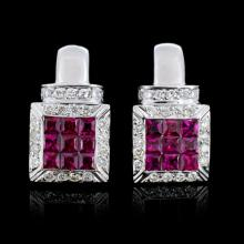 18K Gold 2.37ct Ruby & 0.72ct Diamond Earrings
