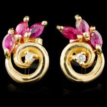 14K Gold 0.82ctw Ruby & 0.05ctw Diamond Earrings