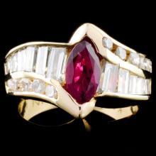 14K Gold 1.15ct Ruby & 1.63ctw Diamond Ring