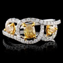 18K White Gold 0.92ctw Fancy Color Diamond Ring