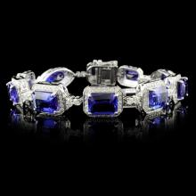 18K White Gold 24.60ct Tanzanite & 2.45ct Diamond