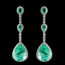 18K White Gold 26.82ct Emerald & 2.33ct Diamond Ea