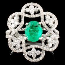 18K Gold 1.03ct Emerald & 0.81ctw Diamond Ring