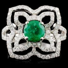14K White Gold 0.90ct Emerald & 0.85ctw Diamond Ri