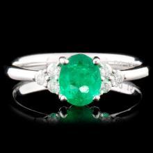 18K Gold 0.67ct Emerald & 0.15ctw Diamond Ring