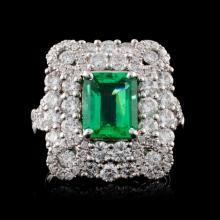 18K White Gold 1.83ct Emerald & 1.96ct Diamond Rin