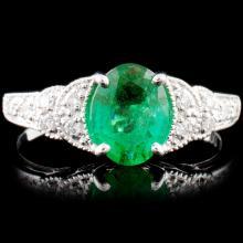 18K Gold 1.07ct Emerald & 0.15ctw Diamond Ring