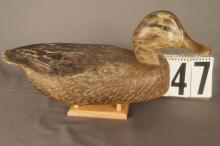 Mallard Hen Duck Decoy By Ben Schmidt, Solid Body, Original Paint, Minor Wear To Back, A Nice Bird For Any Collection
