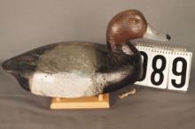 Redhead Drake Duck Decoy by Ben Schmidt. Solid Body, Original Paint. Slight hunter Touchup, Original Keel and Line Tie, C. 1940's