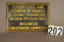 Metal Single Sided Wisconsin Conservation Commission Sign With Raised Yellow Painted Letters, 12.75