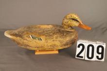 Mallard Hen Duck Decoy by Frank Schmidt, Hollow Body, Original Paint with Paint Loss On Back Of Decoy C.1930s