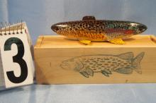 Carl Christiansen, Hand Carved & Painted Double Head Fish Spearing Decoy With Original Wood Box, Rainbow Trout and Brook Trout, 7