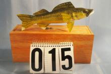 Carl Christiansen Hand Carved & Painted Walleye Fish Spearing Decoy, With Origingal Wood Box, 10