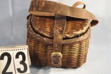 Wicker Fish Creel With Leather Binding Small 9 '' x 9'' x 6'' Deep Newer Piece