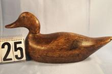 Mallard Hen Duck Decoy by Evans Decoy Factory, Mammoth Grade, Solid Body, Original Paint, Factory Stamp on Bottom, Wear on Top of Head and Tail, This Is a Earlier Bird of Walter's C.1930s