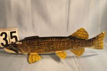 Carl Christensen Hand Carved & Painted Northern Pike Fish Spearing Decoy, 19