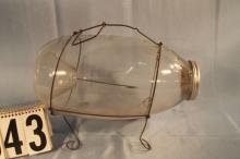 C.F. ORVIS Maker, Manchester VT. Glass Minnow Trap With Wire Stand
