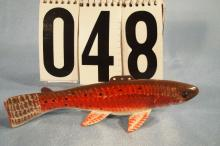 Carl Christensen Hand Carved & Painted Fish Spearing Decoy, Red Trout, With Wood Box, 7