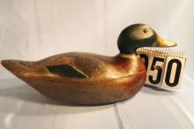 Mallard Drake Duck Decoy by Mason Decoy Factory, Premier Grade, Hollow body, Combination Of Original & Working Overpaint, Repaired Tail Chip, Seam Seperation, C.1920-25