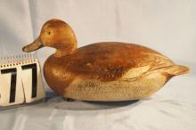 Redhead Hen Duck Decoy by Ben Schmidt, Original Paint, Solid Body, Stamped Feathering on Sides, C. 1940s, Rig Mate To Lot 78