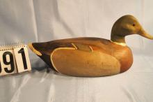 Mallard Drake Duck Decoy by Frank Schmidt, Solid Body, Original Paint, Very Very Nice Example From Frank, Clean Bird C.1940s