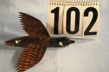 Carl Christensen Hand Carved & Painted Fish Spearing Decoy, Canada Goose, Metal Fins Nice Paint, 7