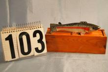 Carl Christensen Hand Carved & Painted Fish Spearing Decoys, Rainbow Trout, Weighted, Metal Fins, With Wood Box, 6.5