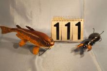 2 Carl Christensen Hand Carved & Painted, One Fish Spearing Decoy of Catfish Weighted with metal Fins 9
