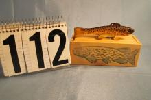 Carl Christensen Hand Carved & Painted Fish Spearing Decoy, Weighted, Brown Trout With Wooden Box, 5